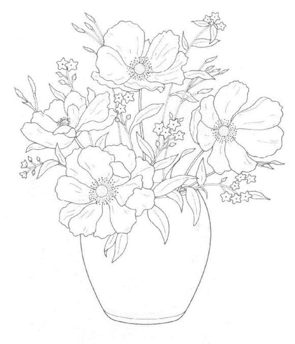 Dibujos para colorear de ramos de flores plantillas para - Plantillas para pintar ...
