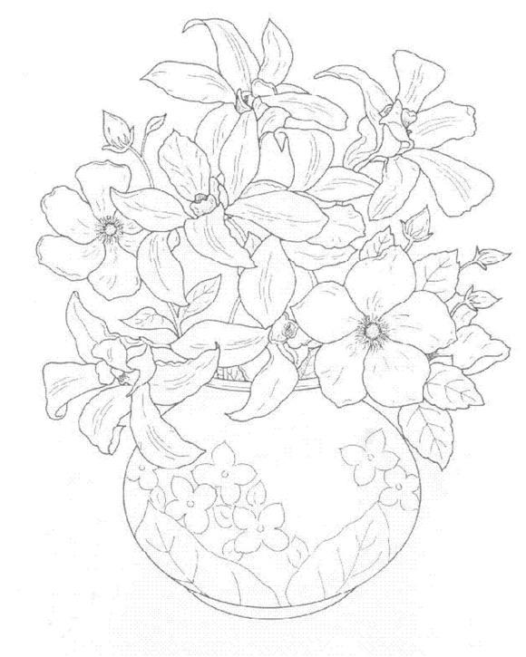 Dibujos De Flores Para Colorear Infantiles En Ramos Y Floreros